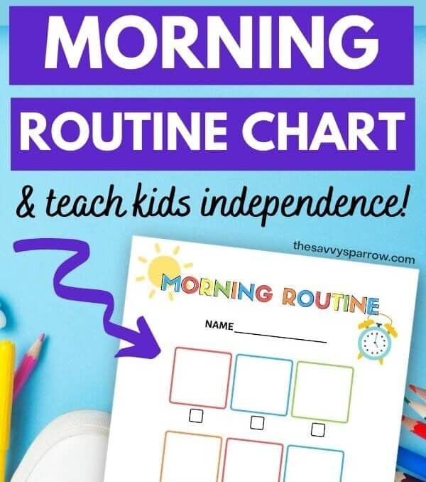 kids morning routine chart on a table with text how to create a morning routine chart to teach kids independence