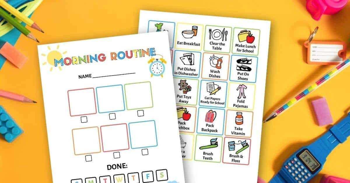 printable morning routine chart on a table with school supplies