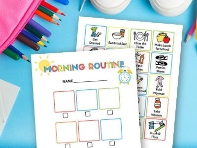 morning routine chart printable on a table with school supplies