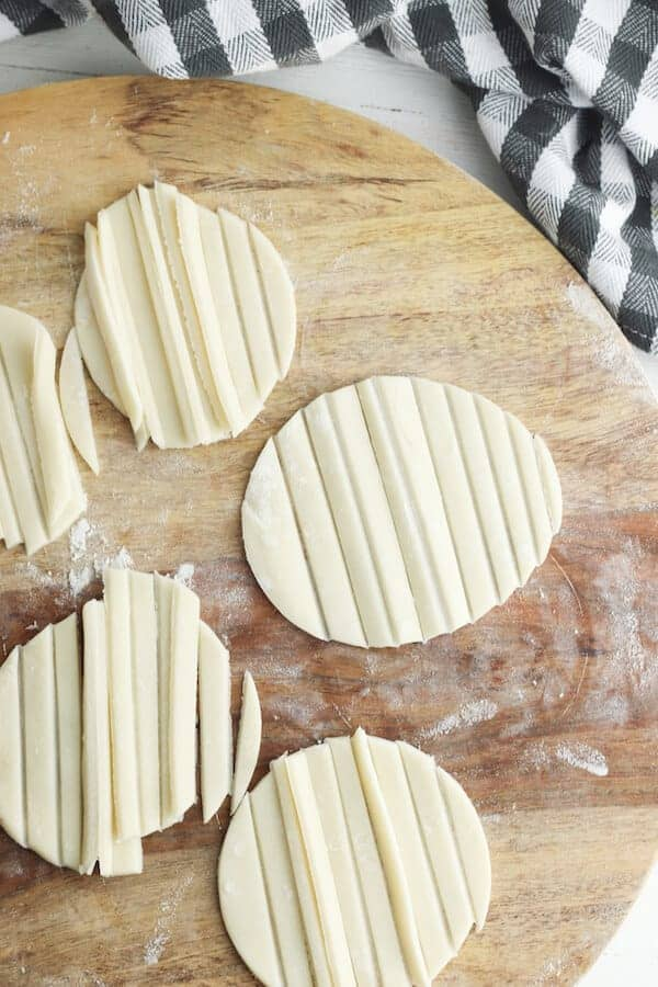 store bought pie dough cut into circles then strips