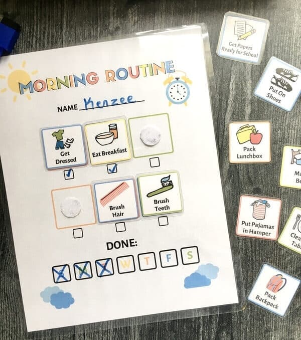 kids morning routine chart and routine picture cards on table