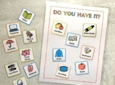 ready for school checklist with school item cards like lunchbox, snack, water bottle, etc