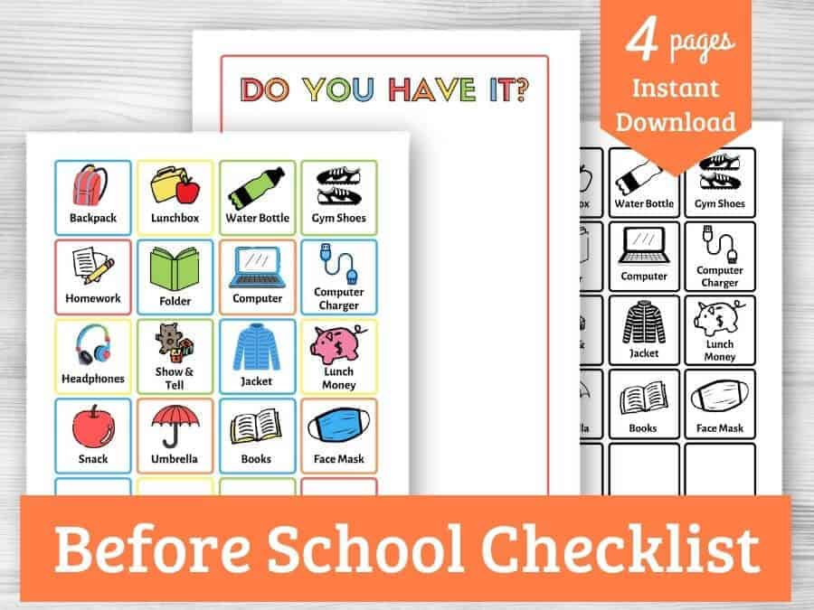 images of pages included in the before school checklist printable for purchase