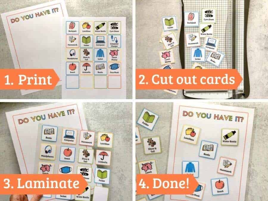 collage showing steps to make your own before school checklist