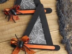 black and orange wooden craft sticks glued together to look like Witch Hat crafts