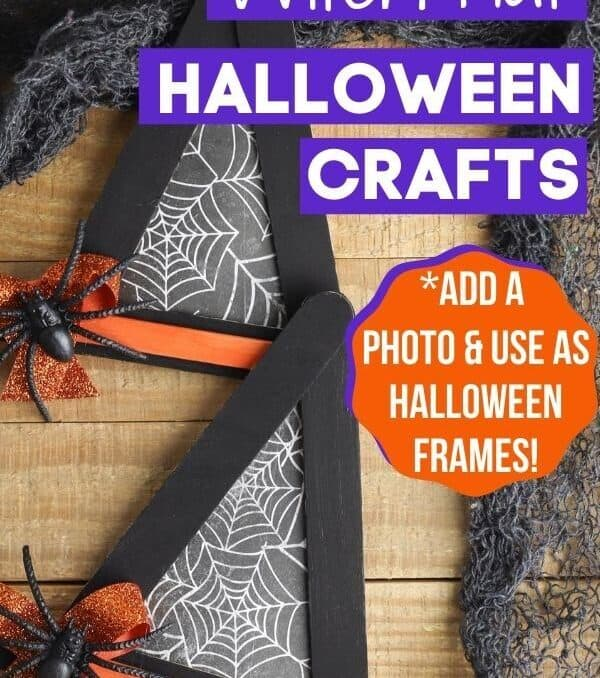 finished Halloween crafts - witch hats made out of popsicle sticks