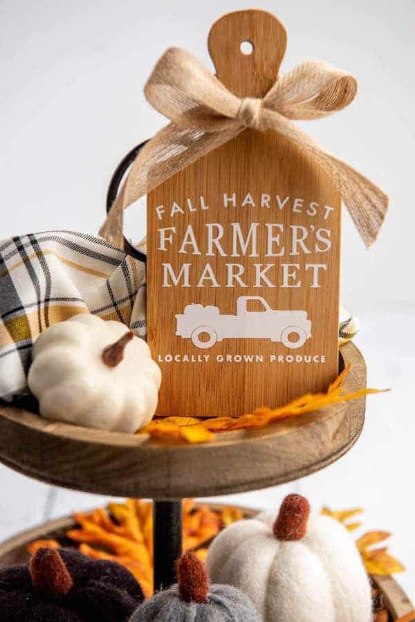 mini cutting board decor that says fall harvest farmer's market