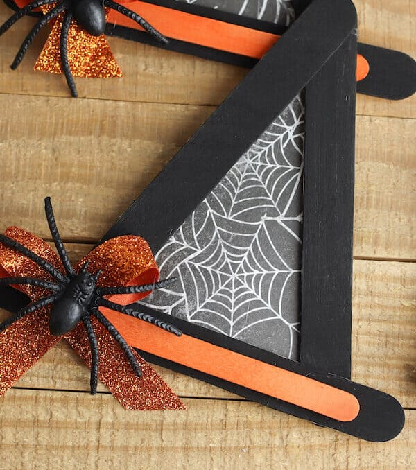 finished witch hat Halloween crafts on a table