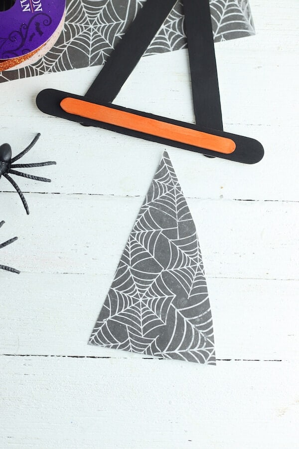 halloween scrapbook paper cut into a triangle