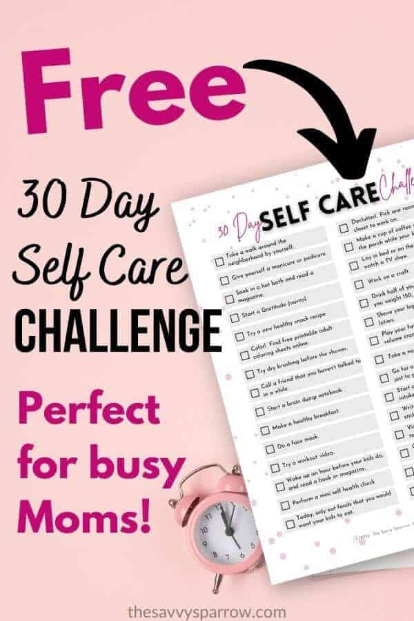 free printable 30 day self care challenge on a pink background