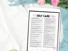 30 day self care challenge checklist on an ipad