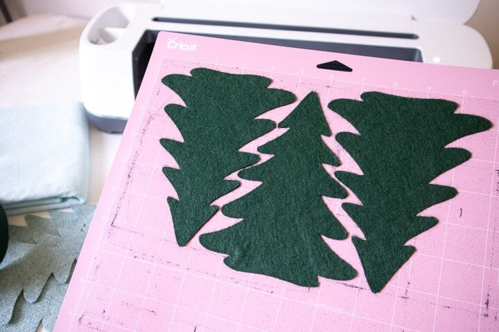 Christmas tree pattern cut out of felt using a Cricut machine