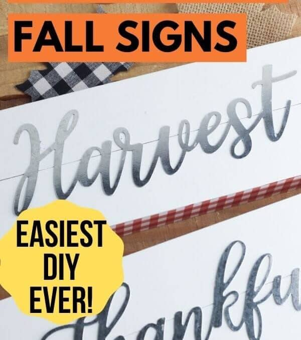 DIY fall signs that say Harvest and Thankful on a table