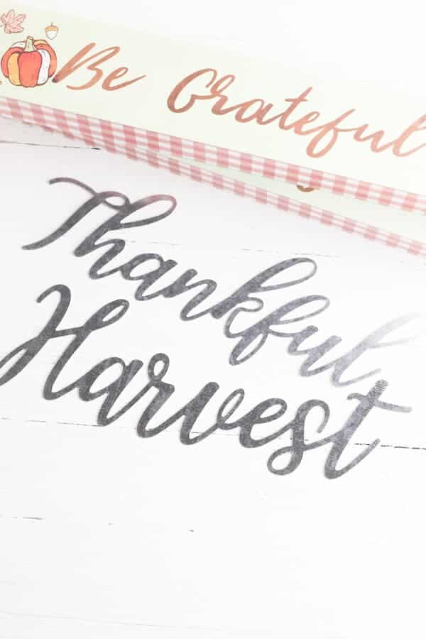 Dollar Tree supplies for DIY Fall Signs including metal words and wood signs