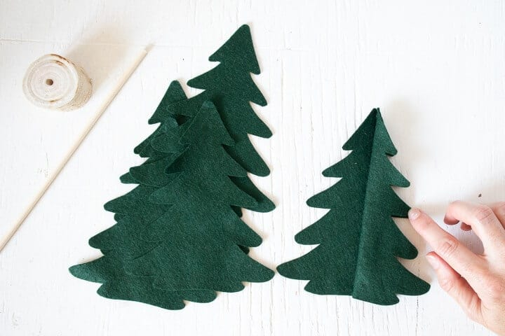 felt Christmas tree pieces glued together