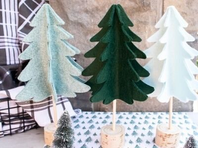 3 DIY felt Christmas trees displayed together