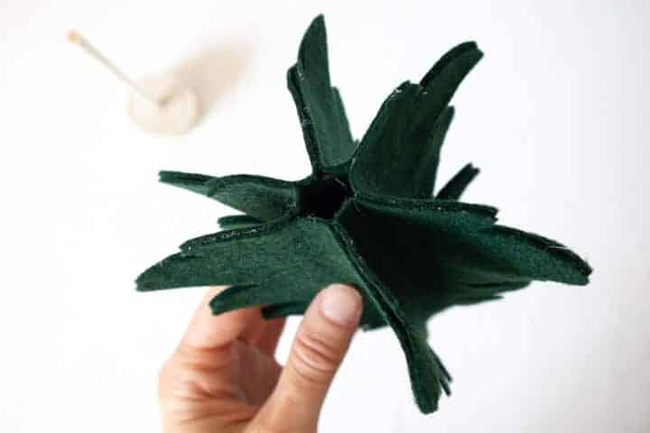 green felt tree shapes glued together