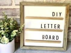 finished DIY letter board on a table