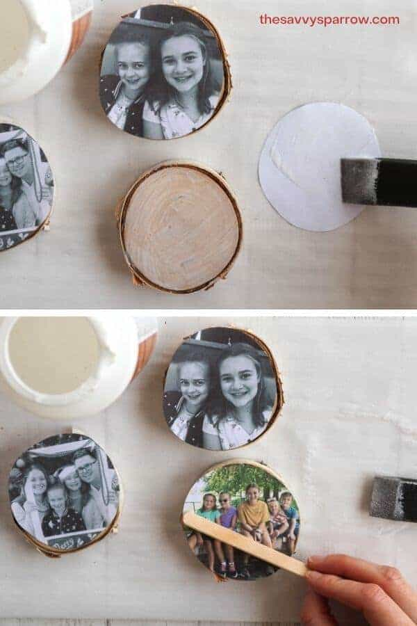 photos being glued to wood slices using Mod Podge and a foam brush