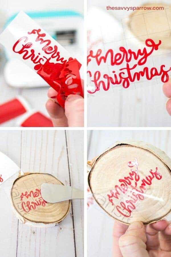 collage showing steps to apply vinyl to DIY wood slice photo ornaments
