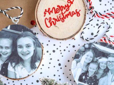 DIY wood photo ornaments on a Christmas backdrop