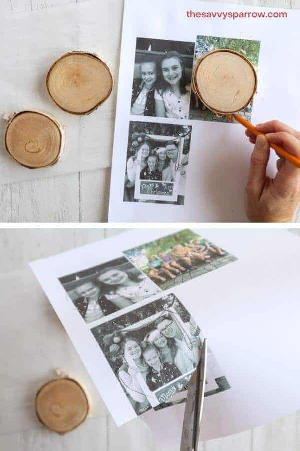 photos being cut into circle shapes