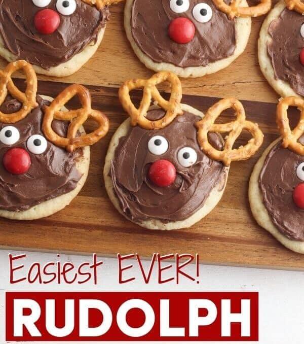 reindeer sugar cookies on a cutting board