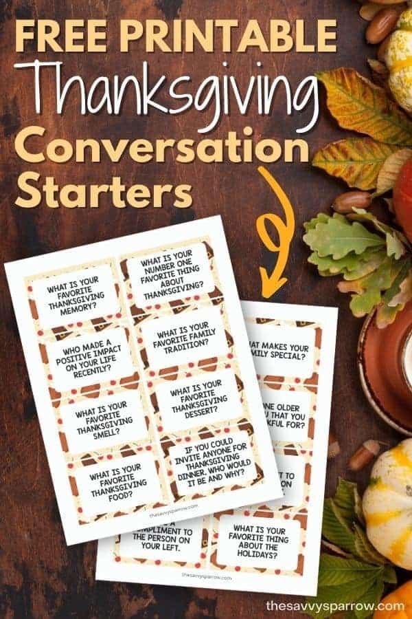 free printable Thanksgiving conversation starters with a fall leaf background
