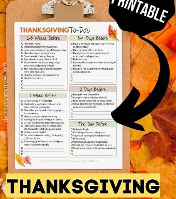 printable Thanksgiving countdown checklist on a clipboard