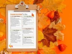 thanksgiving countdown printable on a clipboard