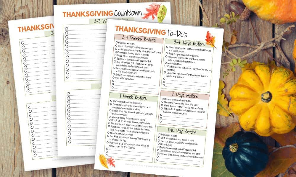 printable Thanksgiving countdown checklist on a table with fall decorations