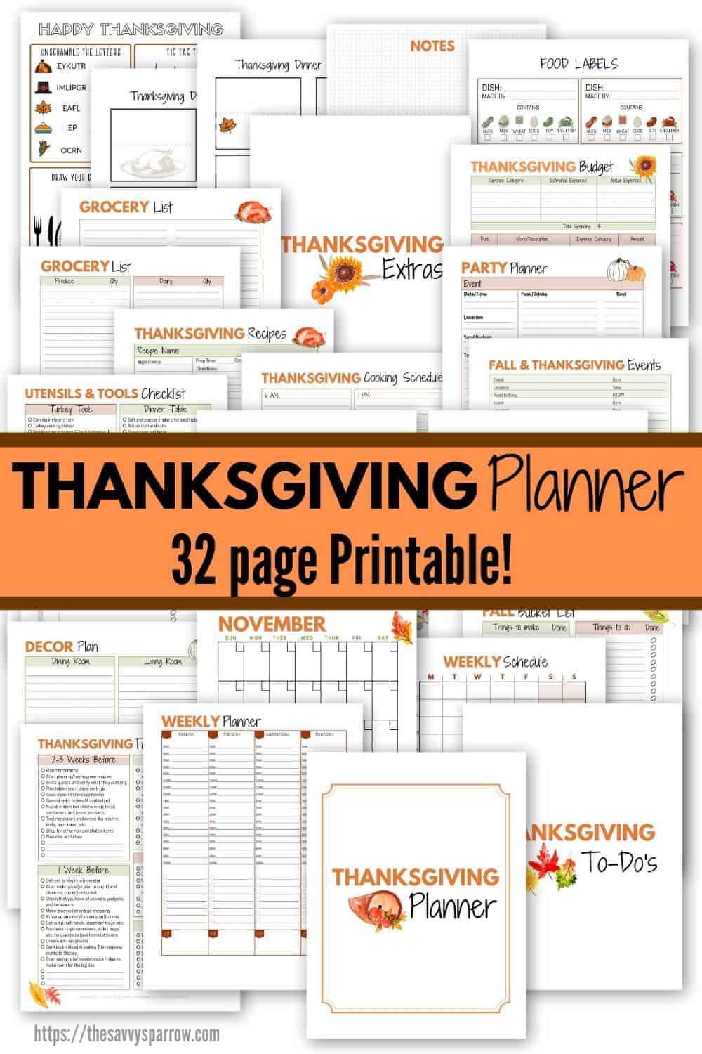 collage showing different pages of printable Thanksgiving planner