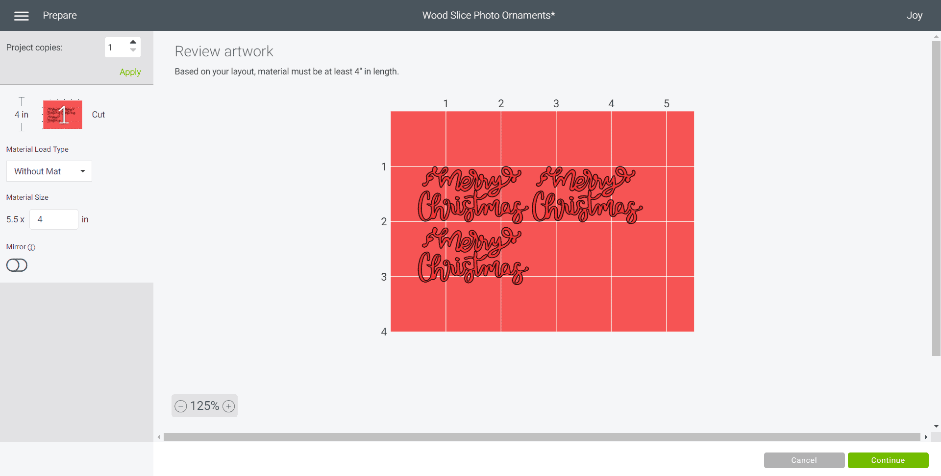 screenshot of Merry Christmas SVG in Cricut Design Space