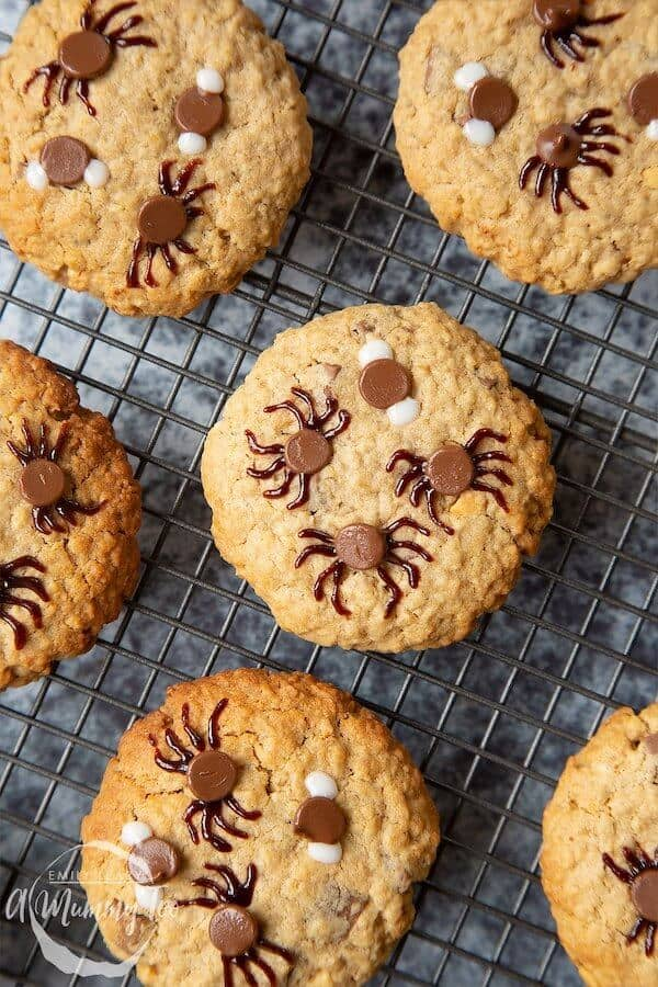 chocolate chip cookies decorated to look like spiders