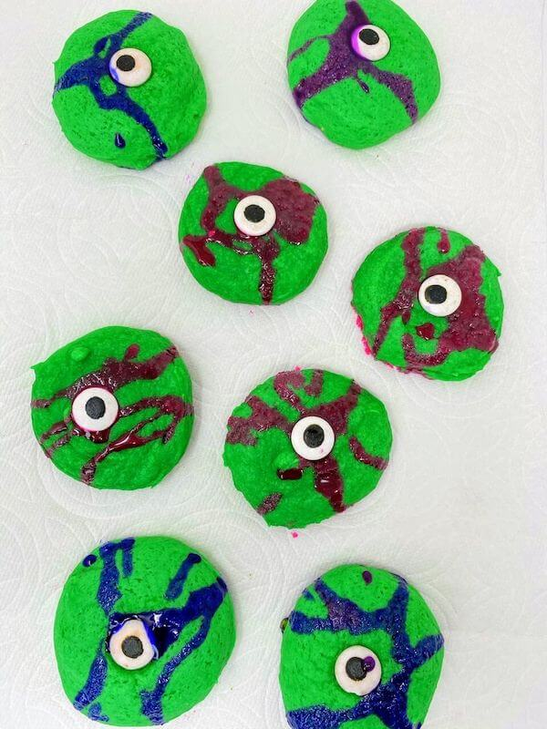green cookies with food coloring and candy eyeballs
