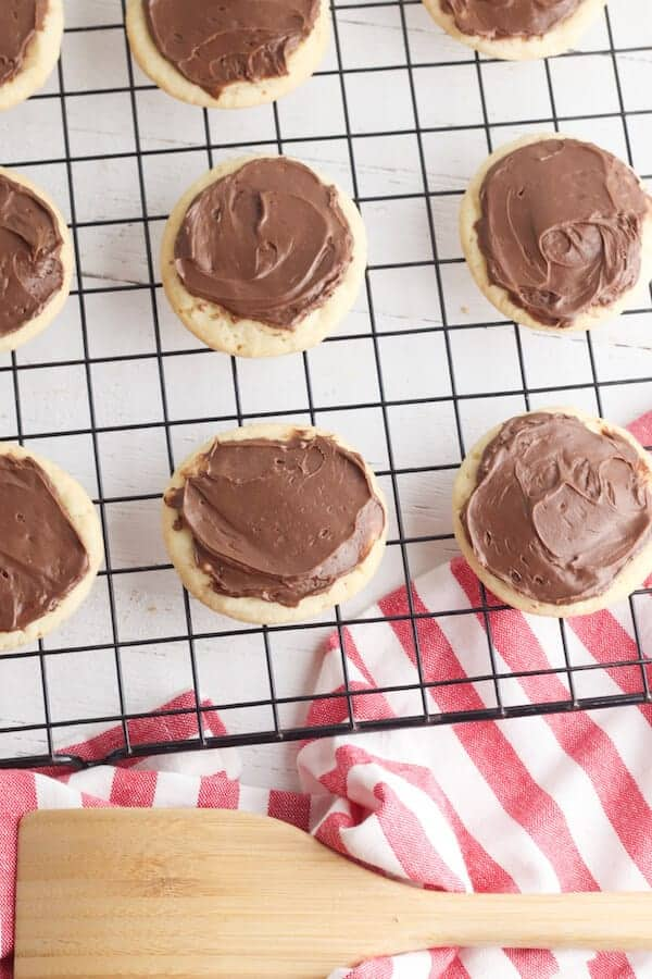 sugar cookies with chocolate frosting