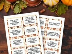 free printable thanksgiving conversation starters on a fall background