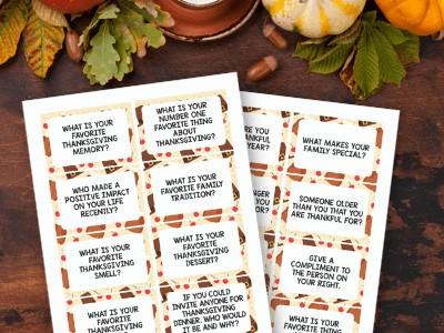 Thanksgiving Conversation Starters – Free Printable Conversation Cards!