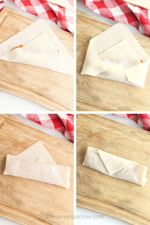 collage showing pizza rolls being wrapped up
