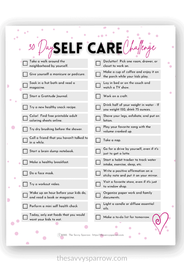 printable 30 day self care challenge checklist