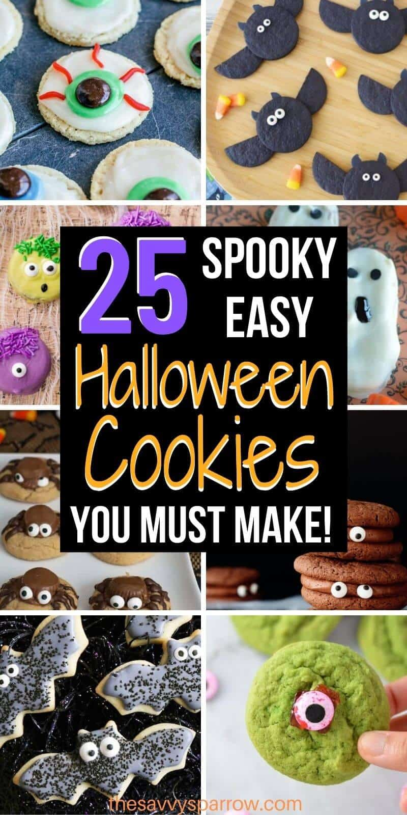 collage of spooky halloween cookies for kids