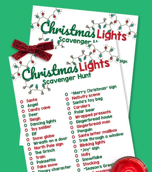 printable Christmas Lights scavenger hunt list