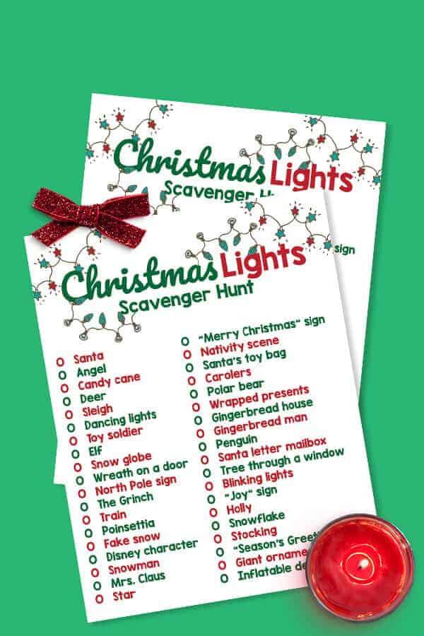 printable Christmas Lights scavenger hunt list