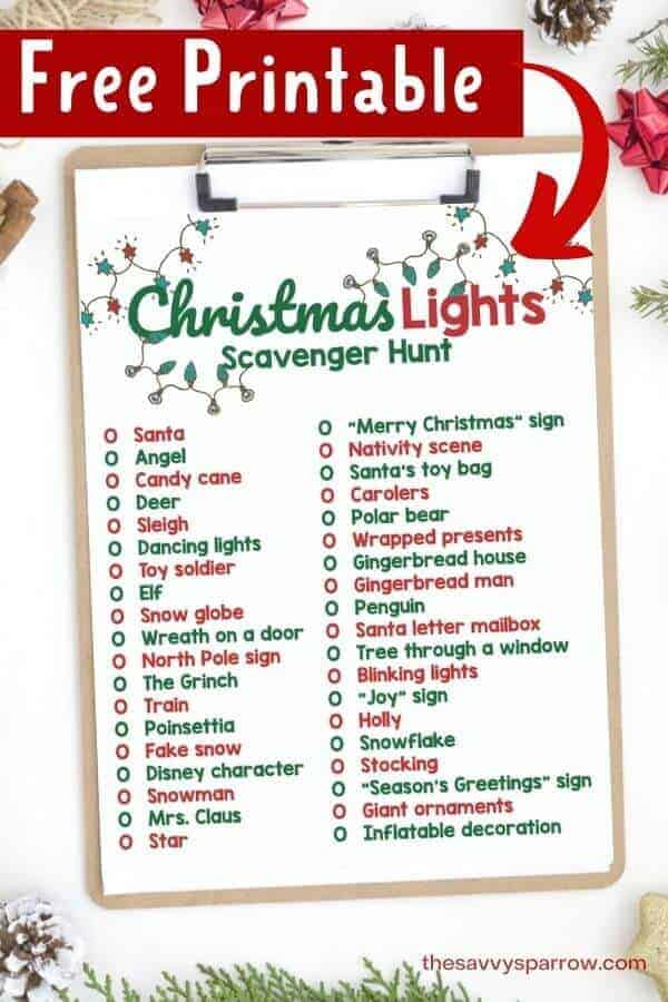 printable Christmas light scavenger hunt on a clipboard
