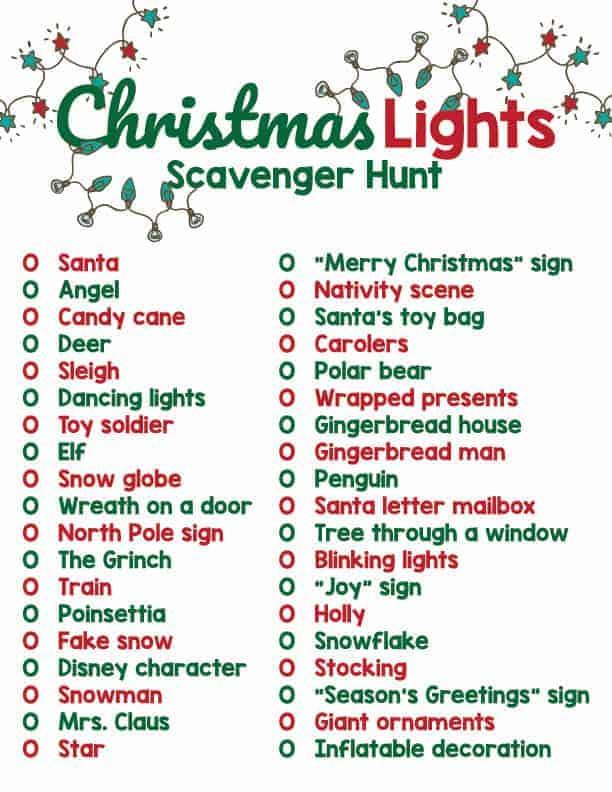 printable Christmas light scavenger hunt list