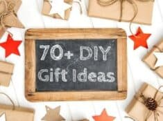 chalkboard that says 70+ DIY Gift Ideas with presents around it
