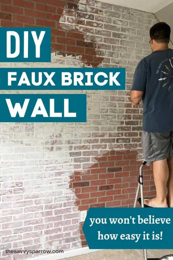man on a ladder installing a faux brick wall