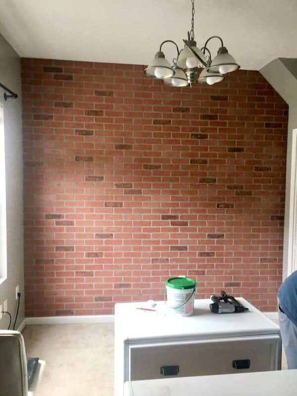 DIY faux brick wall with brick panels