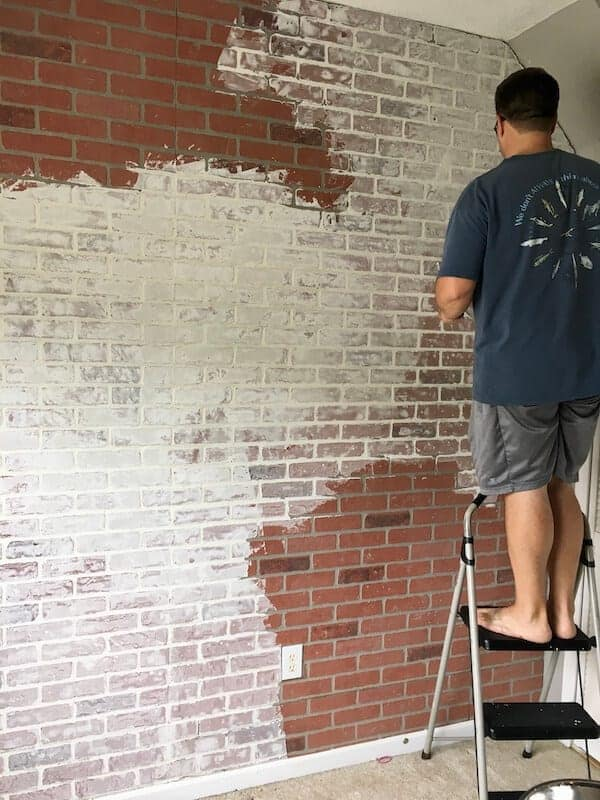 DIY faux brick wall with joint compound on top