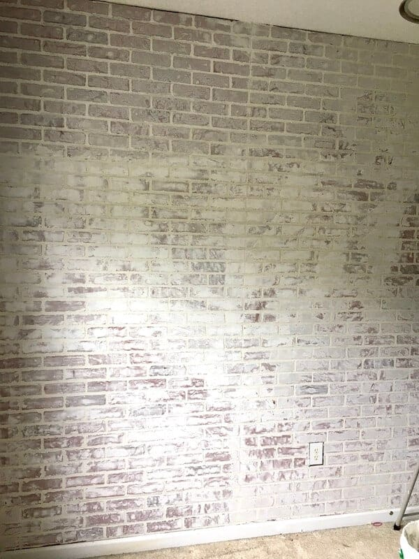 finished DIY faux brick wall